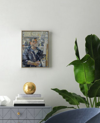 (CreativeWork) Self Portrait in the Studio by Riccardo Angelo. Oil Paint. Shop online at Bluethumb.