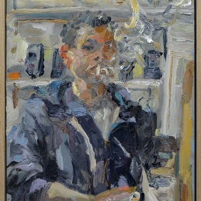 (CreativeWork) Self Portrait in the Studio by Riccardo Angelo. oil-painting. Shop online at Bluethumb.