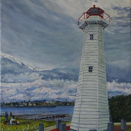 (CreativeWork)  Cleveland Point Lighthouse,  Moreton Bay,  Queensland by Sue Shakeshaft. Acrylic Paint. Shop online at Bluethumb.
