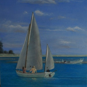 (CreativeWork) Sail away   Noosa beach seascape   by Sue Shakeshaft. #<Filter:0x0000562d1d73aff0>. Shop online at Bluethumb.