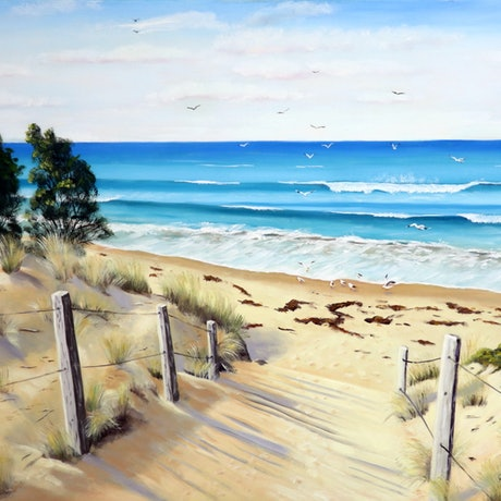 (CreativeWork) To the Beach by Carol Stewart. Oil Paint. Shop online at Bluethumb.