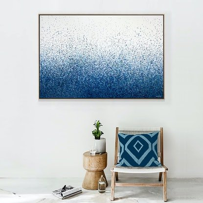 (CreativeWork) 'Freehand Second View'  127 x 96cm Acrylic on canvas set in Tasmanian Oak Frame by George Hall. #<Filter:0x00007f5996799220>. Shop online at Bluethumb.
