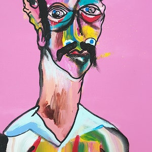 (CreativeWork) el mostacho by STEPHEN Homewood. mixed-media. Shop online at Bluethumb.