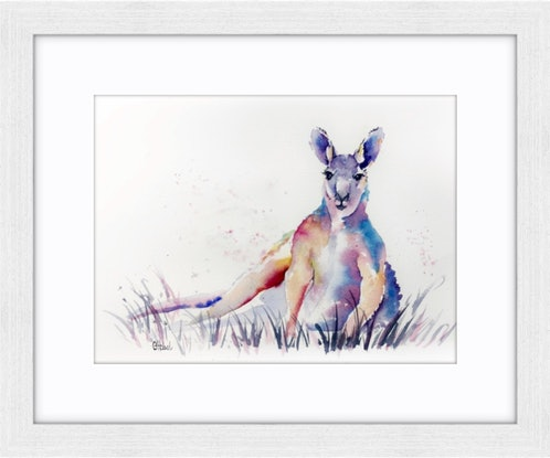 (CreativeWork) Colourful Kangaroo Original Watercolour Painting  by Chris Hobel. #<Filter:0x00007f91104ae4c8>. Shop online at Bluethumb.