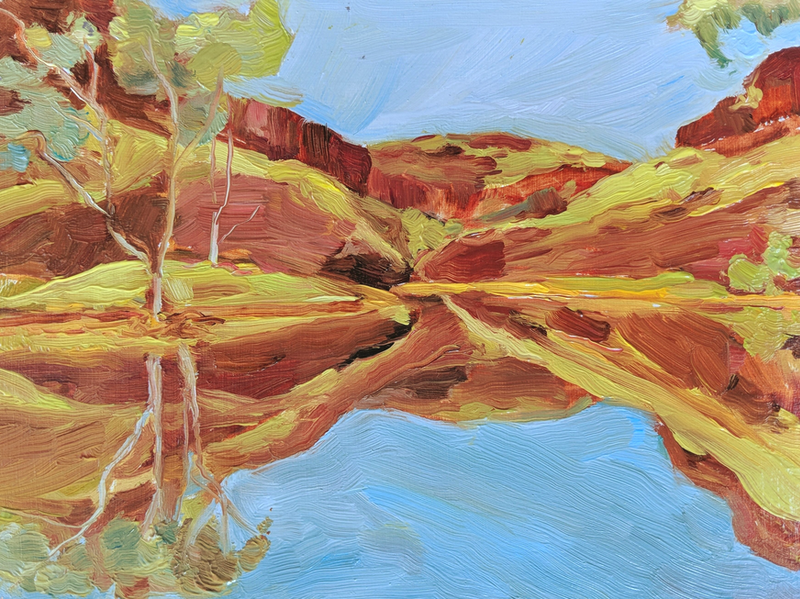 (CreativeWork) Outback gorge  by Amanda Cutlack. Oil Paint. Shop online at Bluethumb.
