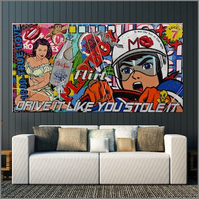 (CreativeWork) Drive It Like That 190cm x 100cm Speed Racer Urban Pop Art Textured Acrylic Gloss Finish FRANKO by _Franko _. #<Filter:0x00007f6dd9822780>. Shop online at Bluethumb.