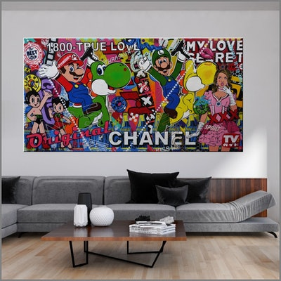 (CreativeWork) Princess Peach's Secret Love 240cm x 120cm Mario and Luigi Urban Pop Art Textured Acrylic Gloss Finish FRANKO by _Franko _. Mixed Media. Shop online at Bluethumb.