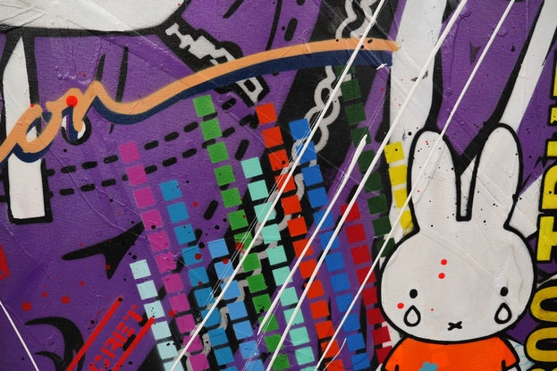 (CreativeWork) Miffy and The Purple Cadet 120cm x 150cm Space Cadet Urban Pop Art Textured Acrylic Gloss Finish FRANKO by _Franko _. Mixed Media. Shop online at Bluethumb.
