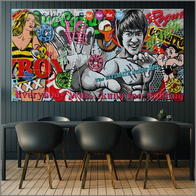 (CreativeWork) Kung Fu 190cm x 100cm Bruce Lee Urban Pop Art Textured Acrylic Gloss Finish FRANKO by _Franko _. #<Filter:0x000055768677d330>. Shop online at Bluethumb.