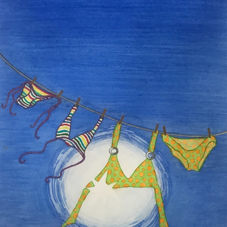 (CreativeWork) Bikinis in the Breeze by Kymberly Stolliday. Watercolour Paint. Shop online at Bluethumb.