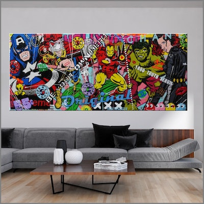 (CreativeWork) Heroes And More The Second Installment 240cm x 100cm Avengers Urban Pop Art Textured Acrylic Gloss Finish FRANKO by _Franko _. #<Filter:0x00007f6dd98af338>. Shop online at Bluethumb.
