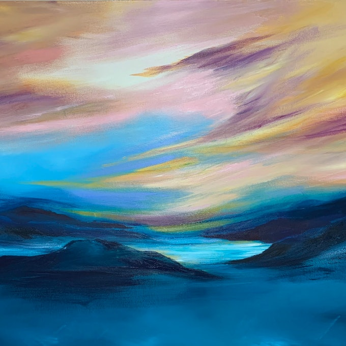 (CreativeWork) Transcendence by Kat Las. acrylic-painting. Shop online at Bluethumb.