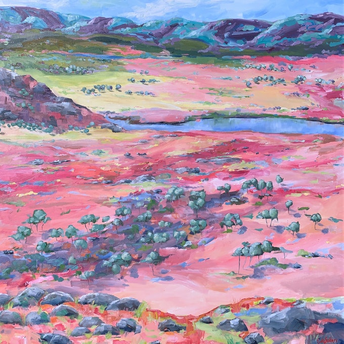 (CreativeWork) Larapinta (Finke River) Northern Territory - Painted Landscape Series  by Eve Sellars. oil-painting. Shop online at Bluethumb.
