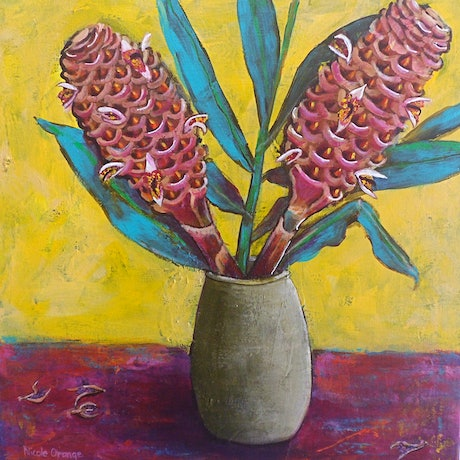 (CreativeWork) Beehive Gingers. by Nicole Orange. Acrylic Paint. Shop online at Bluethumb.