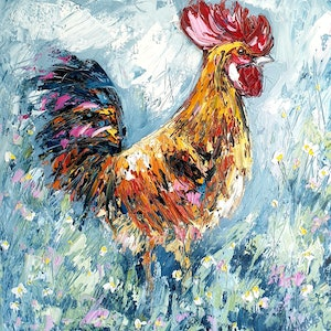 (CreativeWork) Rooster - FRAMED by Angela Hawkey. oil-painting. Shop online at Bluethumb.
