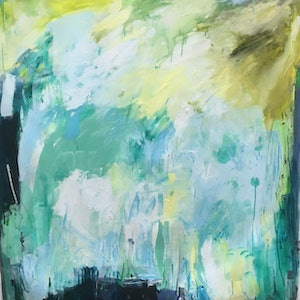 (CreativeWork) Immersed by Liz Muir. oil-painting. Shop online at Bluethumb.