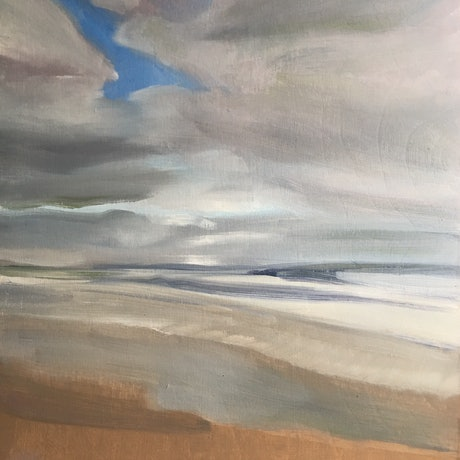 (CreativeWork) Afternoon Serenity, Beach and Clouds by Barbara Aroney. Oil Paint. Shop online at Bluethumb.