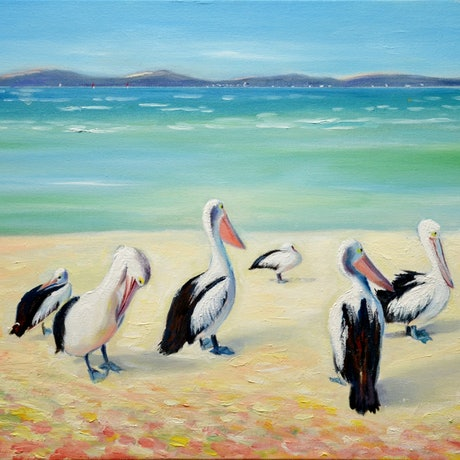 (CreativeWork) Pelicans' Day Out by Emilia Rebelo. Oil Paint. Shop online at Bluethumb.