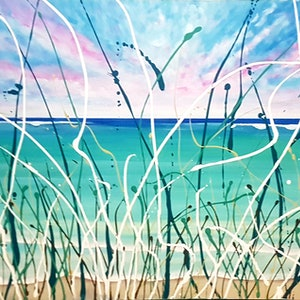 (CreativeWork) As I lay here hiding in the seagrass by Wendy Hocking. acrylic-painting. Shop online at Bluethumb.
