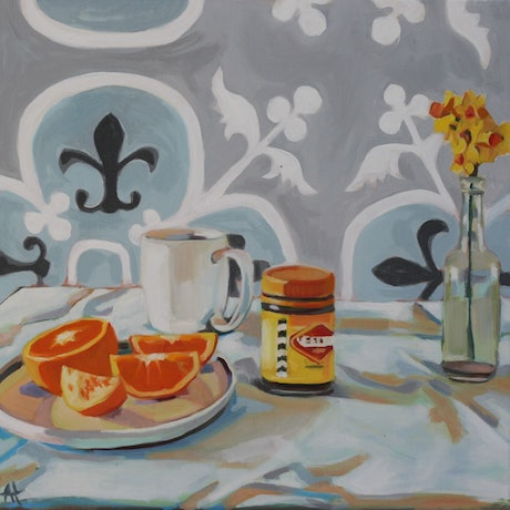 (CreativeWork) Breakfast table by Alice Tilley. Oil Paint. Shop online at Bluethumb.