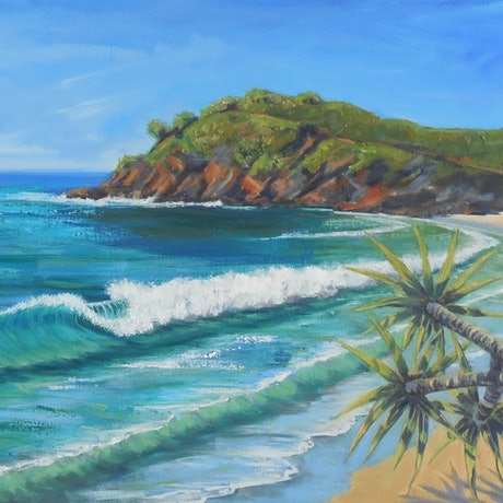 (CreativeWork) Turquoise Surf by Anne Strambi. Oil Paint. Shop online at Bluethumb.