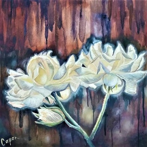 (CreativeWork) White Roses - (symbolic of romantic connection) by Susan Capan. oil-painting. Shop online at Bluethumb.