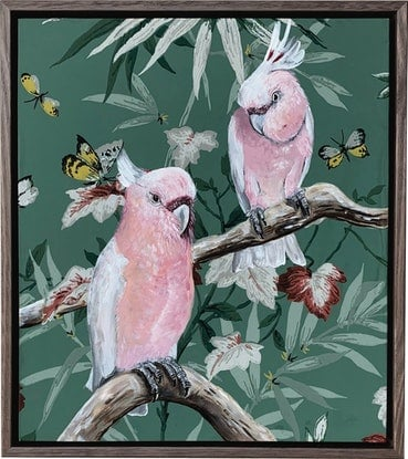 (CreativeWork) Vintage Flora & Fauna Series - Major Mitchells by HEYLIE MORRIS. Mixed Media. Shop online at Bluethumb.
