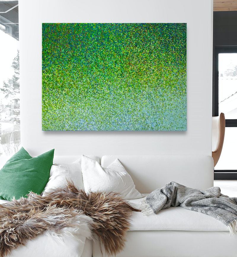 (CreativeWork) GREEN MIGRATION  Acrylic paint on canvas by George Hall. acrylic-painting. Shop online at Bluethumb.