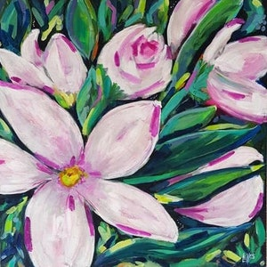 (CreativeWork) SPRING BLOOMS 5  by Leigh Elks. acrylic-painting. Shop online at Bluethumb.