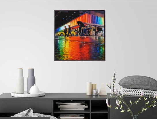 (CreativeWork) Rain on Little Bourke Street by Todd Simpson. Acrylic Paint. Shop online at Bluethumb.
