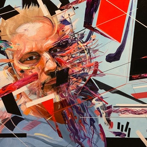 (CreativeWork) Controlled Chaos by Jeremy Elkington. oil-painting. Shop online at Bluethumb.