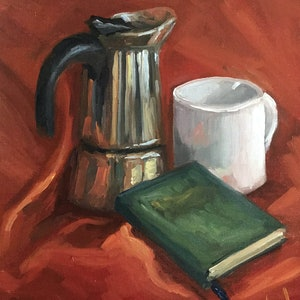 (CreativeWork) After having coffee - still life by Christopher Vidal. oil-painting. Shop online at Bluethumb.