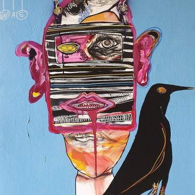 (CreativeWork) RAVEN by STEPHEN Homewood. mixed-media. Shop online at Bluethumb.