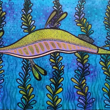 (CreativeWork) Seadragon by RAELENE MIRINDO. Acrylic Paint. Shop online at Bluethumb.