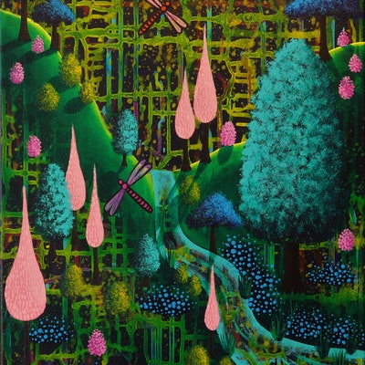 (CreativeWork) Whimsical Forest by Alice West. acrylic-painting. Shop online at Bluethumb.