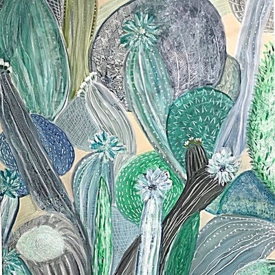 (CreativeWork) Cactus  by Tracey Berthold. acrylic-painting. Shop online at Bluethumb.