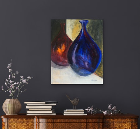 (CreativeWork) Two Warm Friends by Meredith Howse. Acrylic Paint. Shop online at Bluethumb.