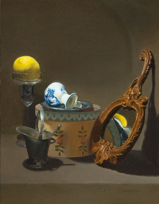 (CreativeWork) Still Life with Lemon & Mirror by Michael Memete. Oil Paint. Shop online at Bluethumb.