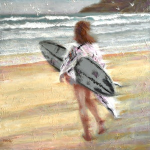 (CreativeWork) The surfing girl by Valentin Varetsa. oil-painting. Shop online at Bluethumb.