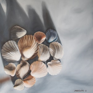 (CreativeWork) Shell group by Al Strangeways. Oil Paint. Shop online at Bluethumb.