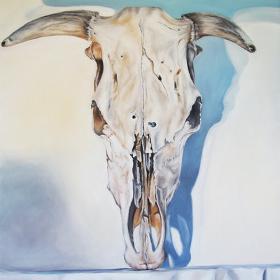 (CreativeWork) A bull's story by Al Strangeways. oil-painting. Shop online at Bluethumb.