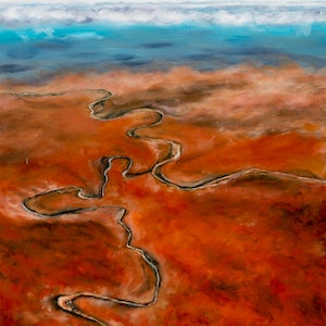 (CreativeWork) Study for Aerial V: The river by Al Strangeways. Oil Paint. Shop online at Bluethumb.