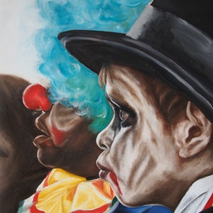 (CreativeWork) Dracula and the clown by Al Strangeways. Oil Paint. Shop online at Bluethumb.