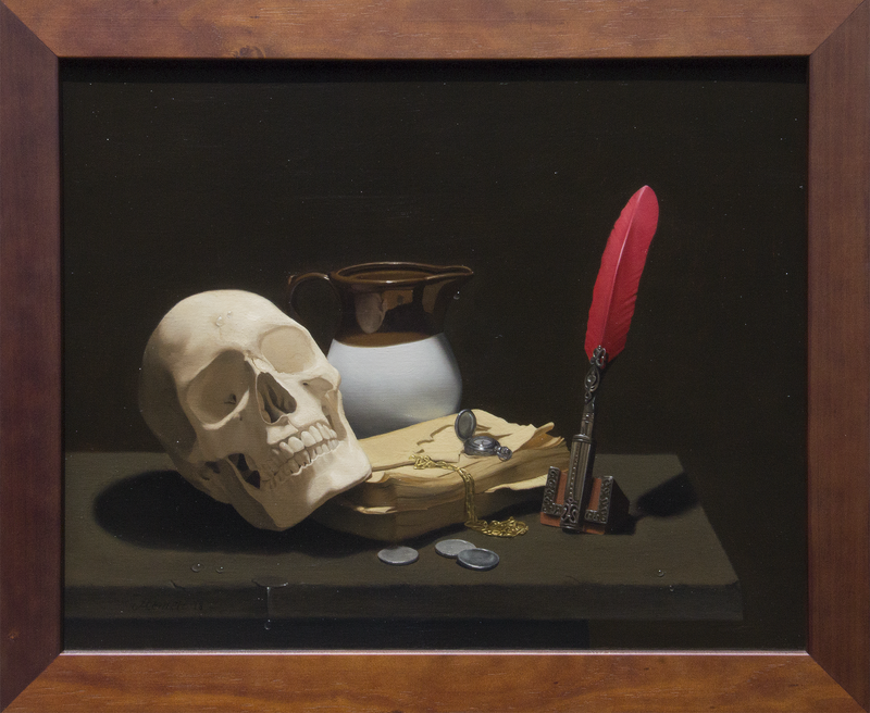 (CreativeWork) Vanitas, Still Life with Skull & Quill by Michael Memete. Oil Paint. Shop online at Bluethumb.