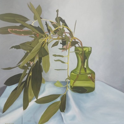 (CreativeWork) Green piece by Sandra Jenkins. oil-painting. Shop online at Bluethumb.