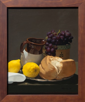 (CreativeWork) Still Life with Bread & Grapes by Michael Memete. Oil Paint. Shop online at Bluethumb.