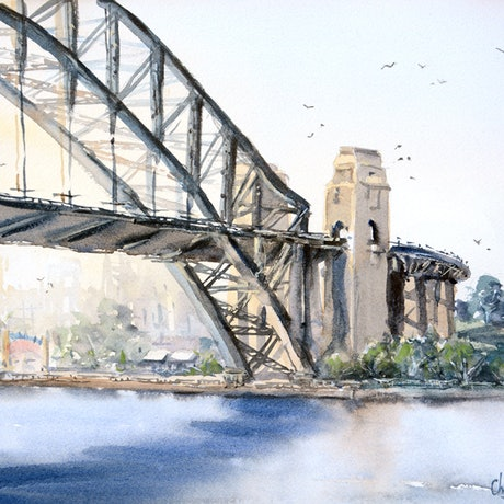 (CreativeWork) Sydney Harbour Bridge by Chrysovalantou Mavroudis. Watercolour Paint. Shop online at Bluethumb.