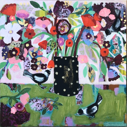 (CreativeWork) Green Lovers by Sandra Oost. Mixed Media. Shop online at Bluethumb.