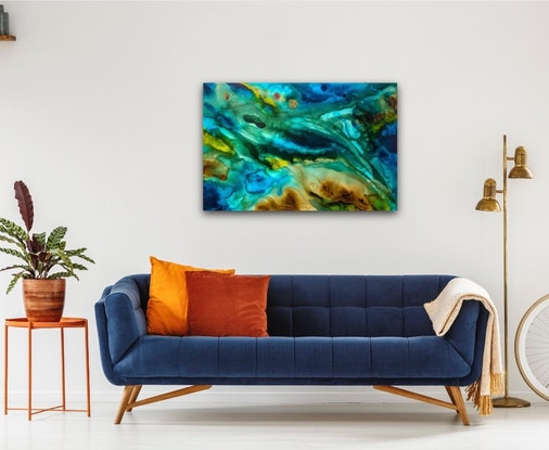 (CreativeWork) Aqueous Reef Flow II – Original Abstract Painting by Jacquelyn Stephens. Acrylic Paint. Shop online at Bluethumb.