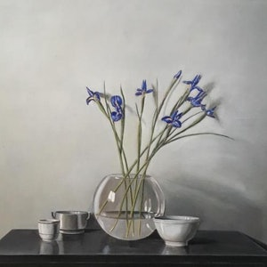 (CreativeWork) Irises by Kerry Doran. oil-painting. Shop online at Bluethumb.